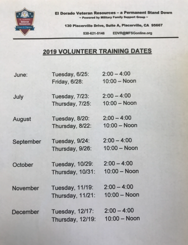 2019 Volunteer Training Dates